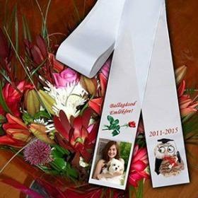 Egyedi fotós/feliratos ballagási virágcsokorszalag